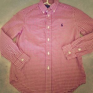 Boys Polo Ralph Lauren red checkered dress shirt